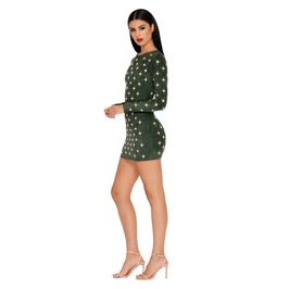 (green) Green Suede Mini Dress with Embellishment Details - Side View