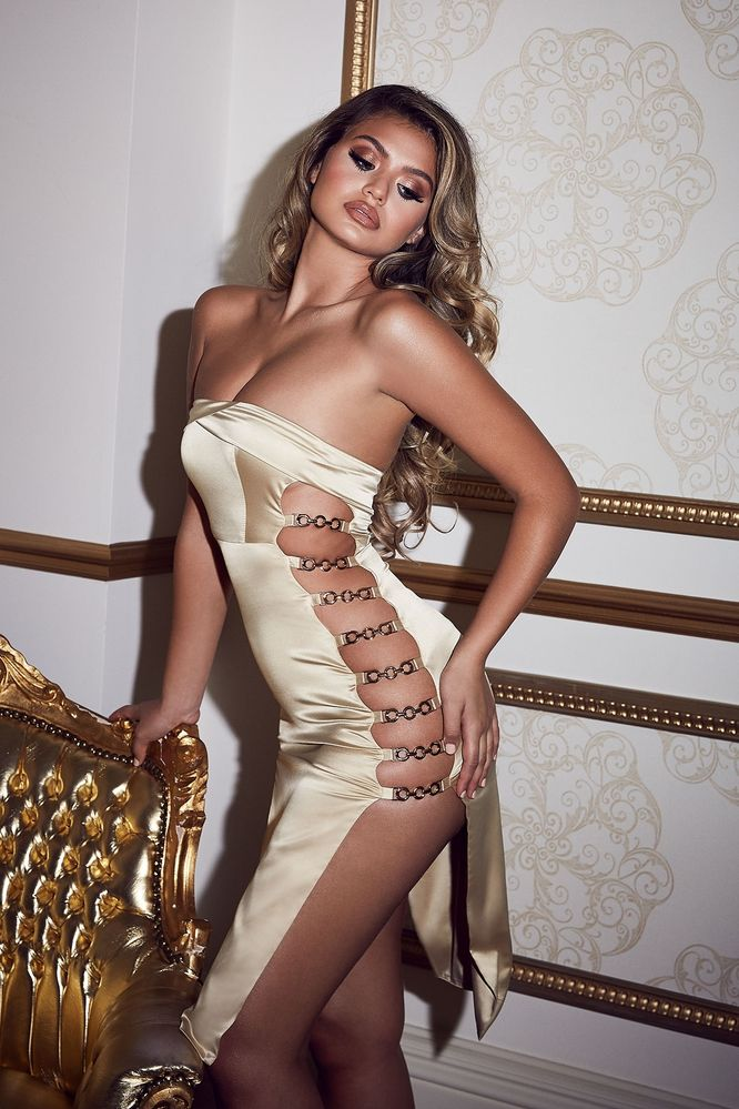 (gold) satin strapless dress with cut out sides - thumb
