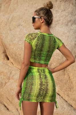 95ee789498 Pretty Python Snake Print Mesh Ruched Mini Skirt in Neon Green