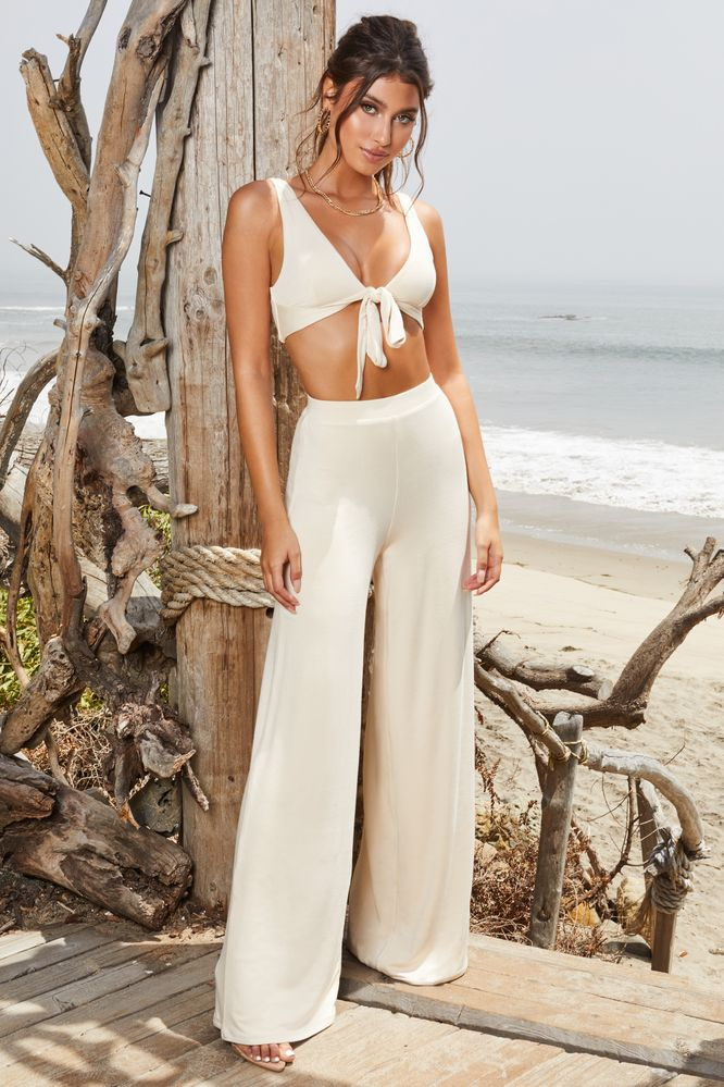 Flare To Dream High Waisted Wide Leg Trousers in Cream