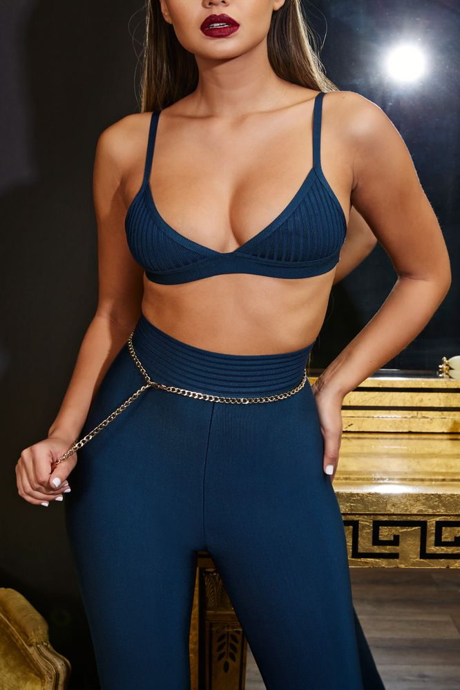 It Takes Two Ribbed Bandage Bra Top in Deep Teal