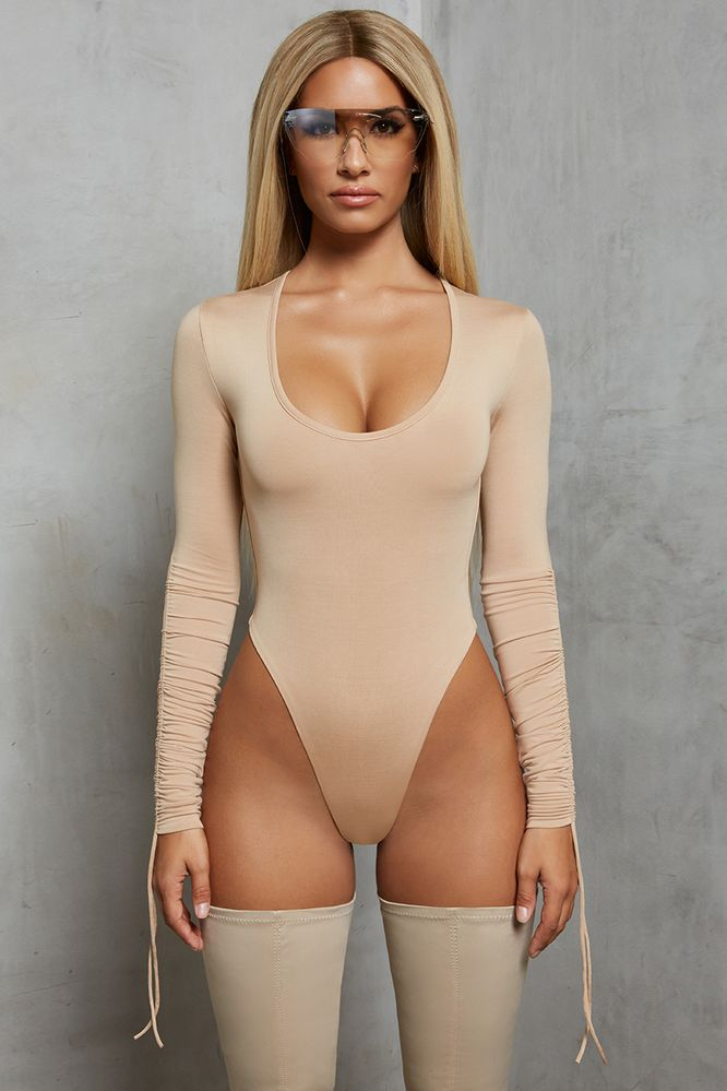 ea88271e4dfdf Sleeve A Message Ruched Long Sleeve Bodysuit in Beige