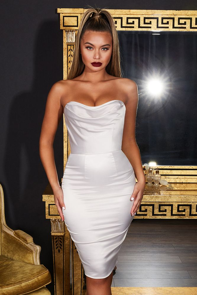a2756dc057d Luxe Good Bustier Strapless Satin Knee Length Dress in Ivory