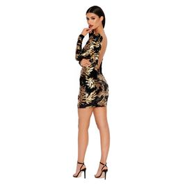 (black-&-gold) Sequin Long Sleeve Mini Dress - Main Image