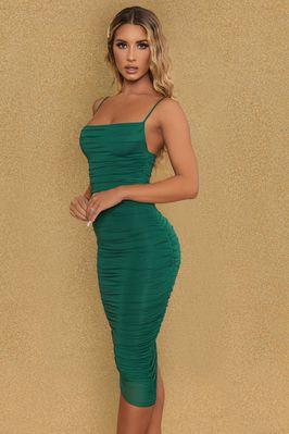 You Re My Type Cowl Neck Ruched Bodycon Midi Dress Oh Polly