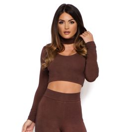 (chocolate-brown) High Waisted Double Layered Leggings in Chocolate Brown - Front
