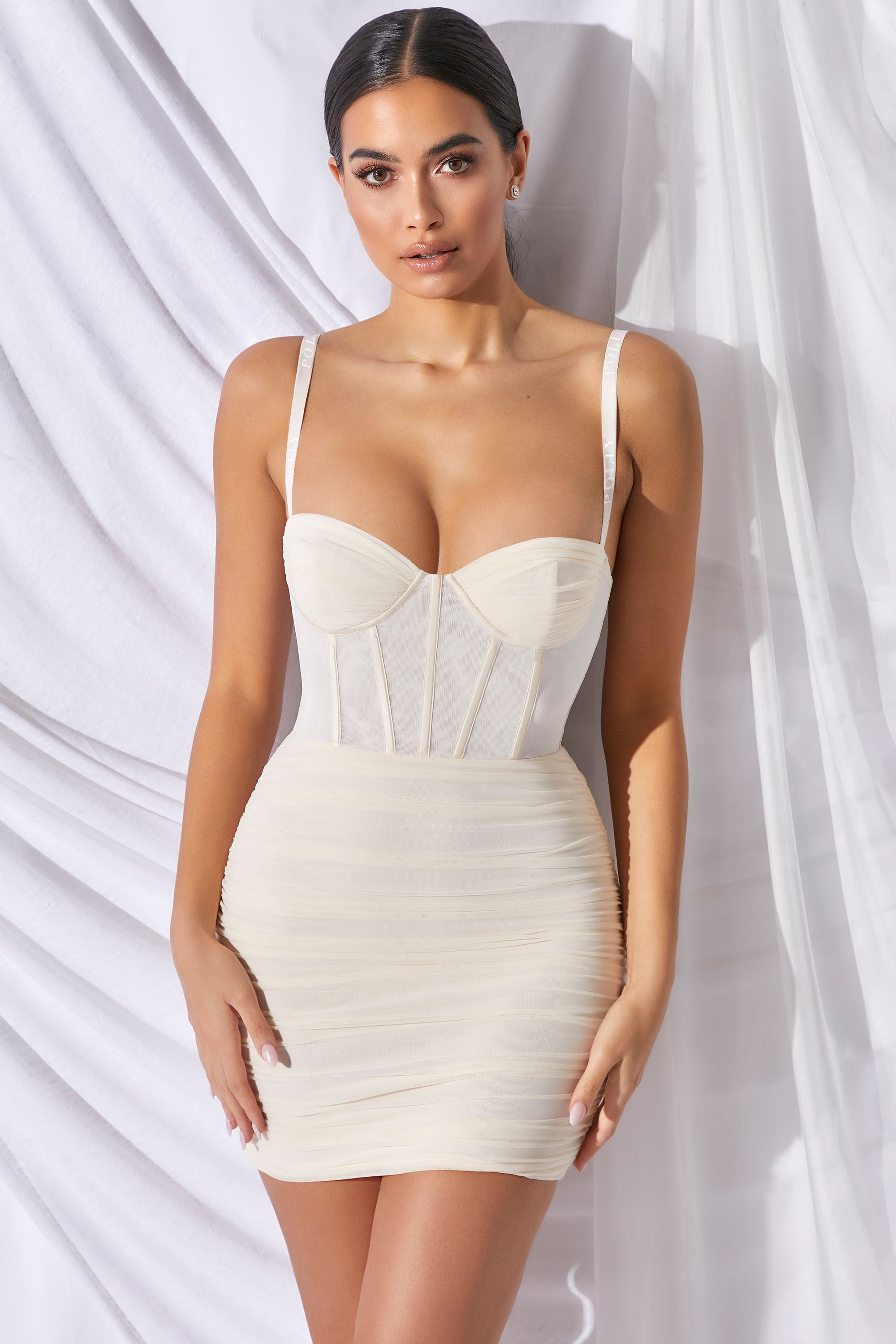 Overload Mesh Bodycon Corset Mini Dress in Ivory
