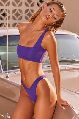 Rays For Days One Shoulder Bikini Top in Purple - Image 2 of 9