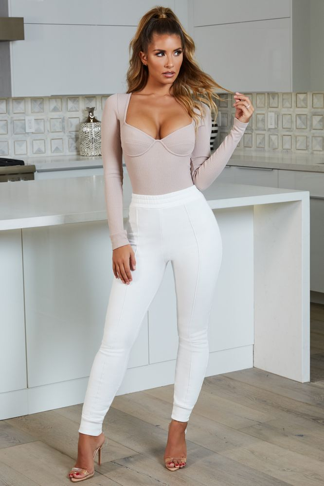 Take It Easy High Waisted Sweatpant Joggers in Off White