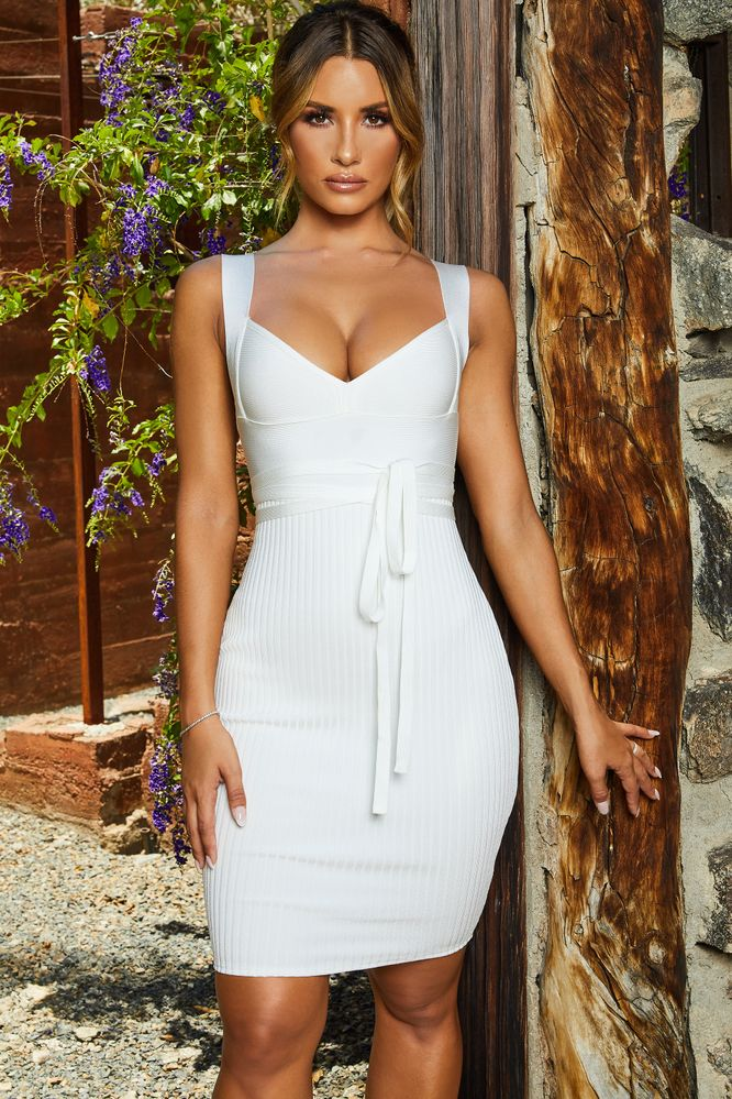 8fb1995c16fd First Love Bandage Knee Length Dress in Oyster White