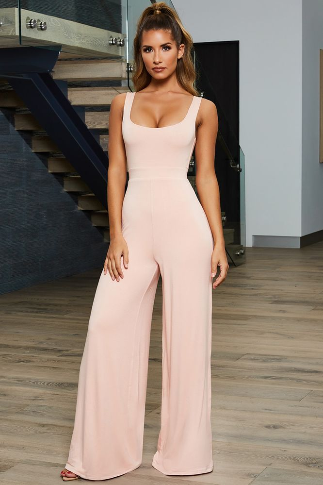 88c44e755b One And Only Scoop Neck Wide Leg Jumpsuit in Pink