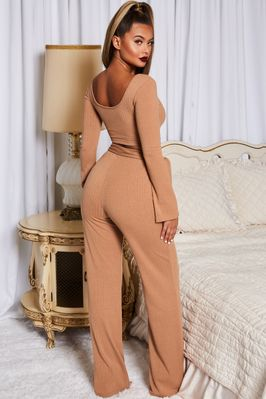 Hands Are Tied Wide Leg Ribbed Trousers in Camel - Image 2 of 11
