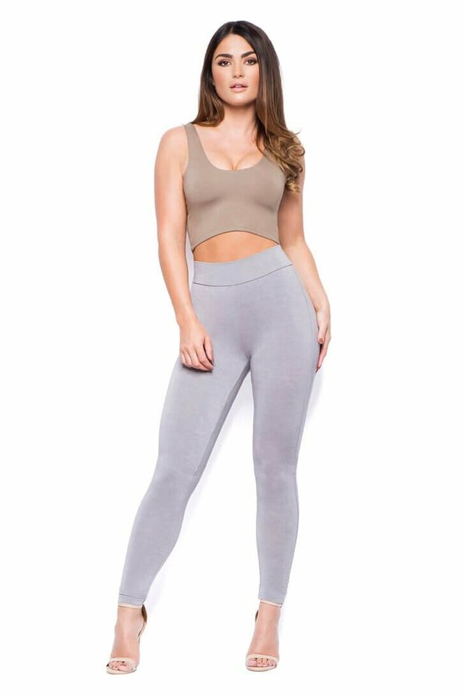 Taupe high waisted double layered leggings - Thumbnail