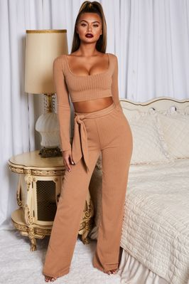 Hands Are Tied Wide Leg Ribbed Trousers in Camel - Image 3 of 11
