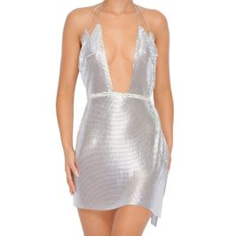 (silver) Chainmail plunge dress - front