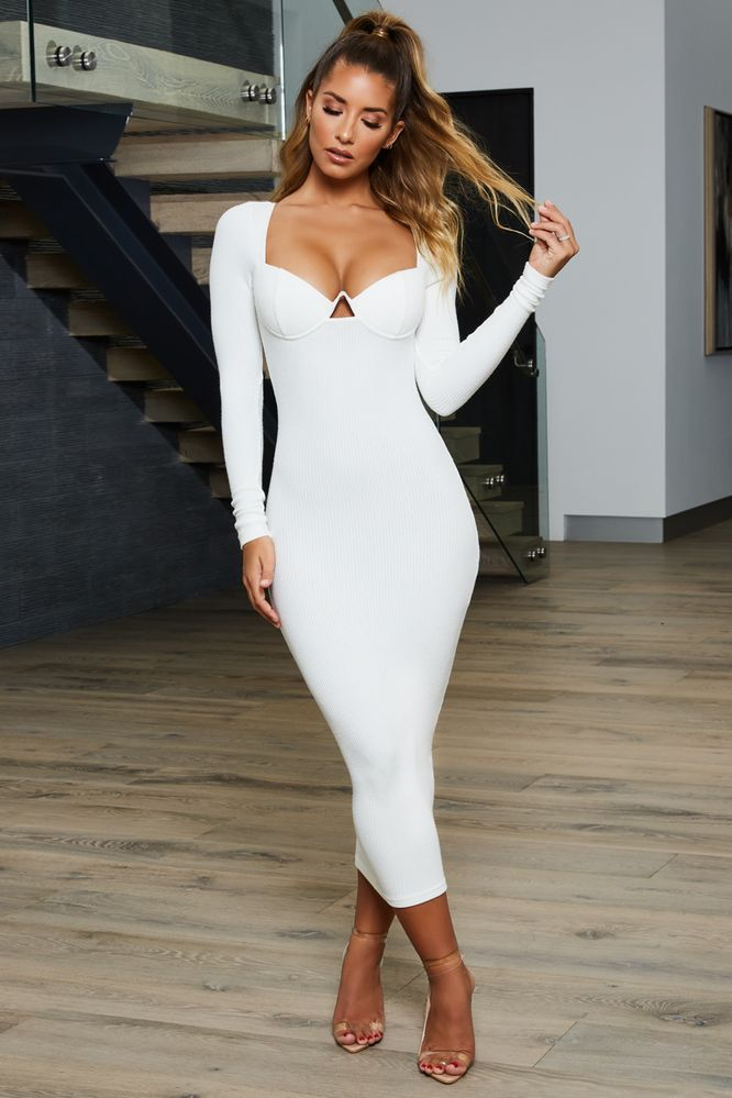 a246590082ec6 Into Knit Long Sleeve Ribbed Underwired Midaxi Dress in White