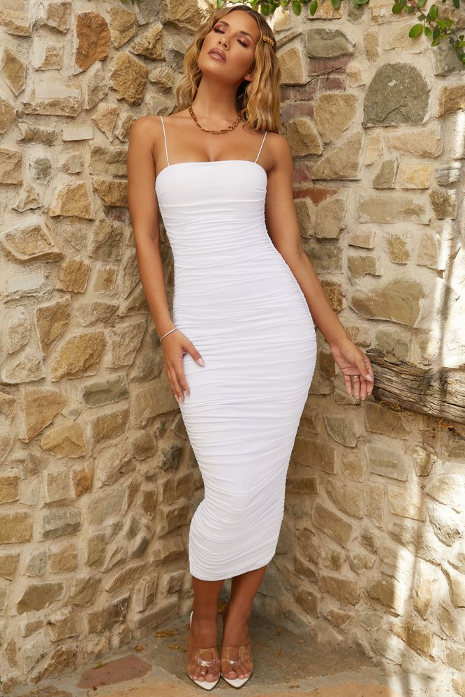d5cf94793875 Keep It Simple. Ruched Midaxi Dress in Oyster White