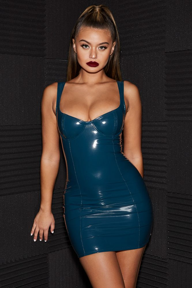 1ba2cadee2 Live Wire Underwired Vinyl Mini Dress in Petrol Blue