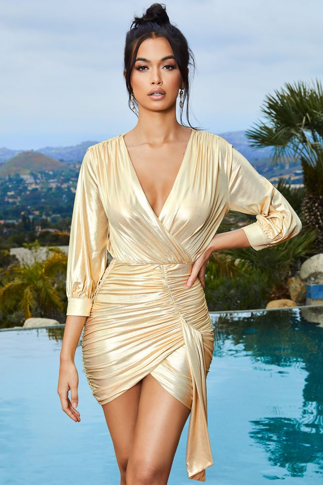 Yamba mini white in ocean shimmer bodycon embellished oyster satin dress