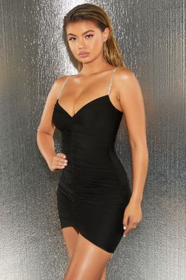 Pretty perfect embellished ruched bodycon mini dress in black