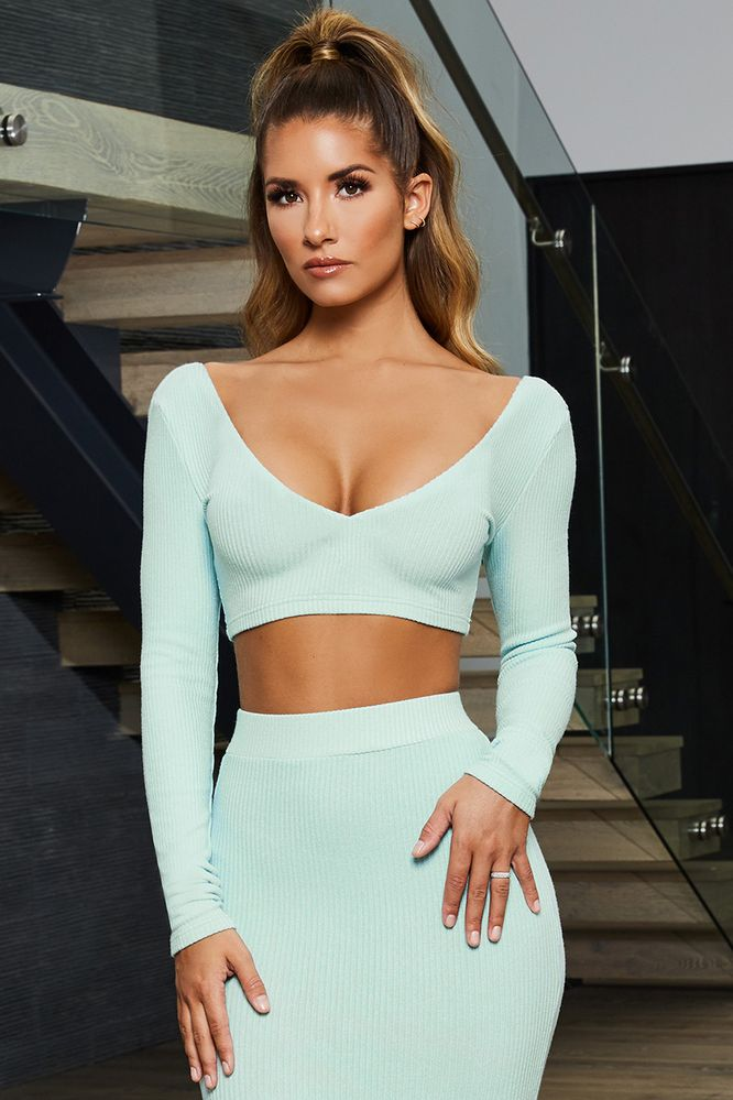 51a90fe27944b4 Match Made In Heaven. Ribbed Long Sleeve Crop Top ...