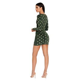 (green) Green Suede Mini Dress with Embellishment Details - Back View