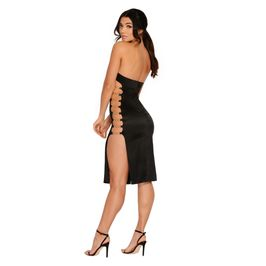 (black) Strapless satin dress with glitter cut out - back