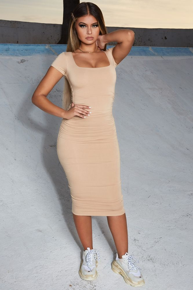 Long Story Square Neck Ruched Bodycon Midi Dress in Beige