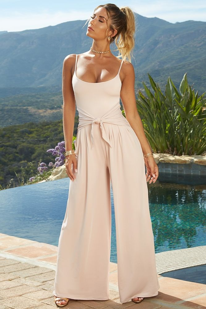 e9165190ac382 Long Way Down Petite Wide Leg Jumpsuit in Blush