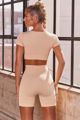 Game On Ribbed Cycling Shorts in Cream - Image 3 of 6