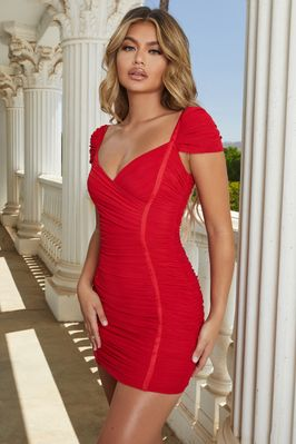Live The Dream Ruched Bodycon Mini Dress in Red - Image 2 of 10