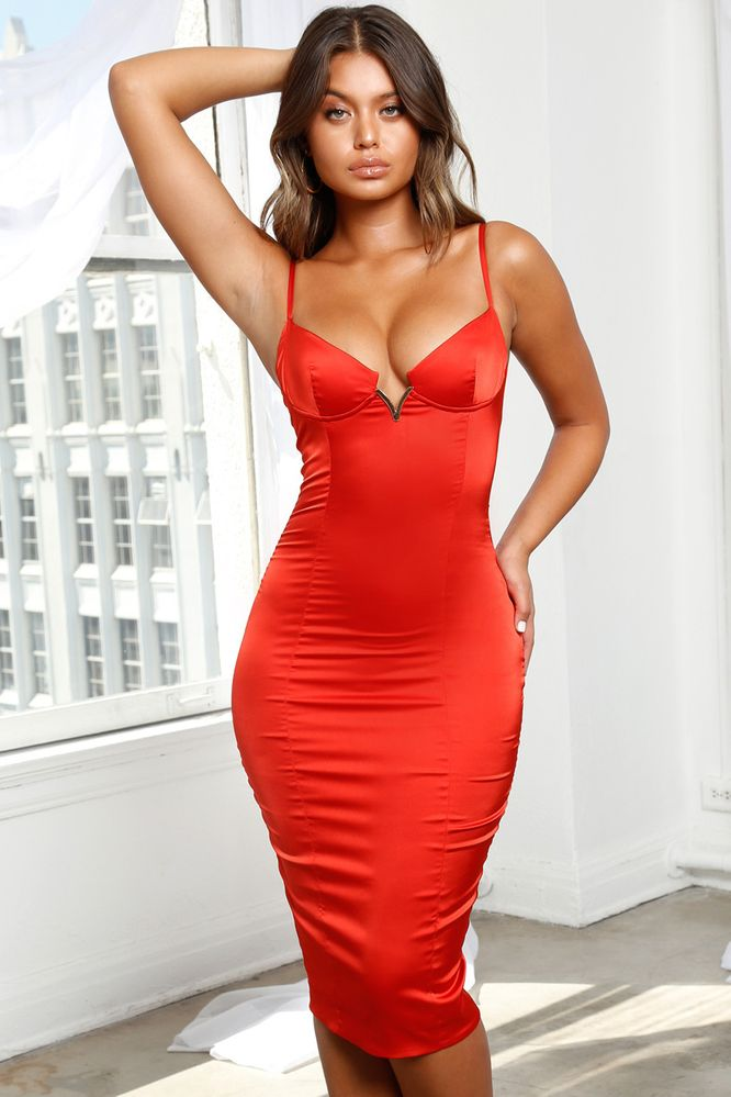85a9dc1ce9c7 Bust Out Underwired Satin Midi Dress in Cherry Red