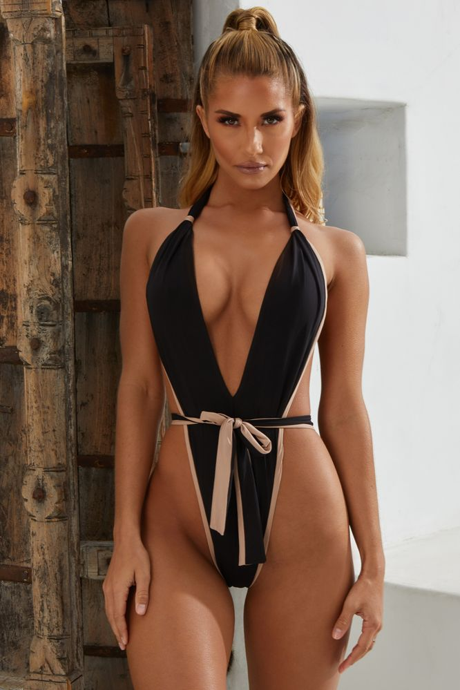 Two Faced Colour Contrast High Rise Swimsuit in Black & Nude