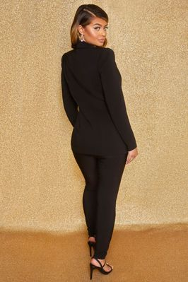 Business As Usual High Waisted Tailored Trousers in Black - Image 3 of 9