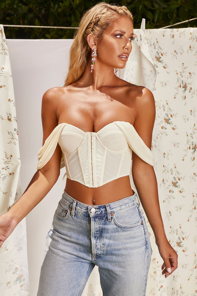 Runway Bardot Mesh Corset Crop Top in Ivory