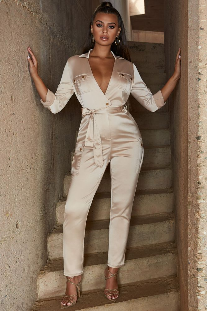 Jump The Gun Belted Plunge Satin Jumpsuit in Champagne