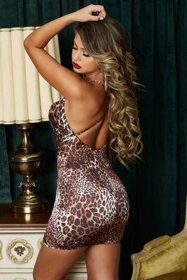 8d6b7e4be5cf ... Cowl Neck Satin Mini Dress in Leopard Print. (multi-nude). (multi-nude)
