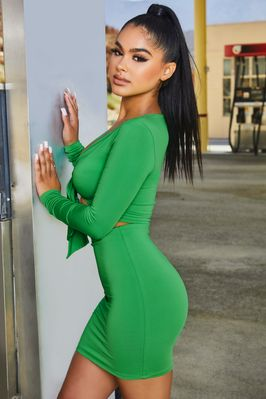 Tie 'Em Down High Waisted Bodycon Mini Skirt in Bright Green - Image 2 of 10