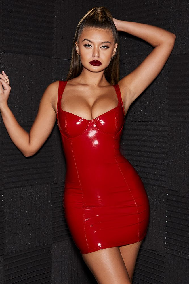 67dbfec512 Live Wire Underwired Vinyl Mini Dress in Red