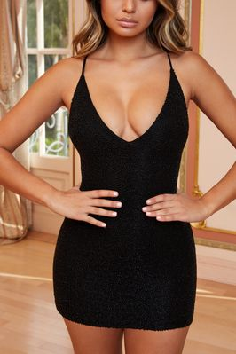 a5f7e3fa Oh Baby Petite Strappy Beaded Embellished Mini Dress in Black