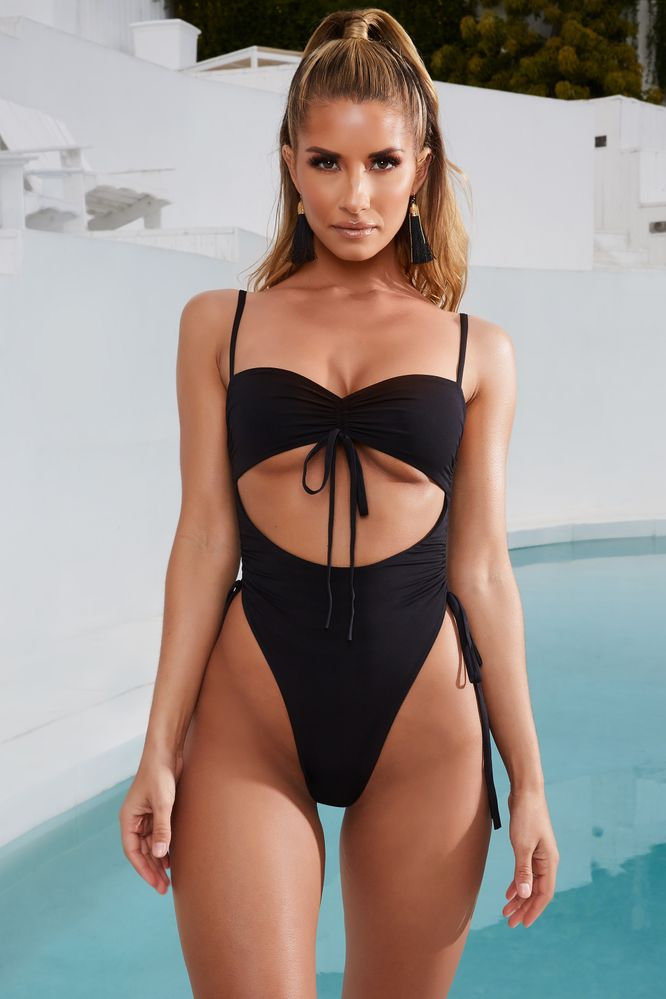Addictive Ruched Cut Out Underbust Swimsuit in Black