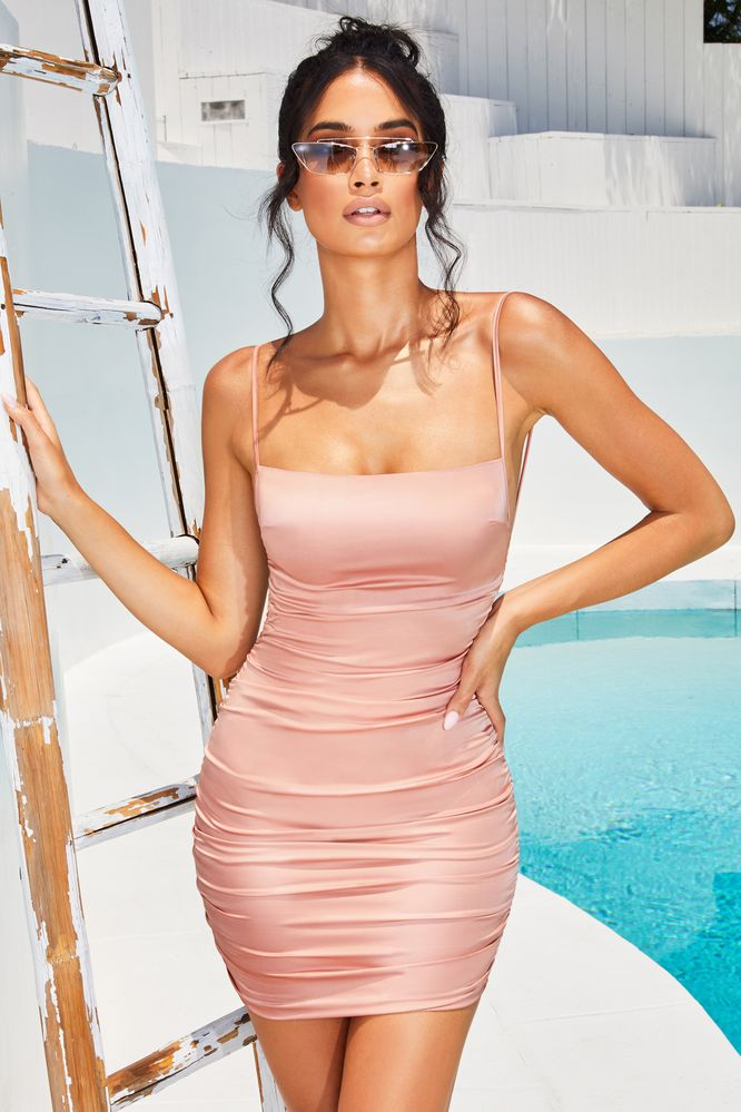 Sweetener Backless Ruched Satin Mini Dress in Dusky Pink