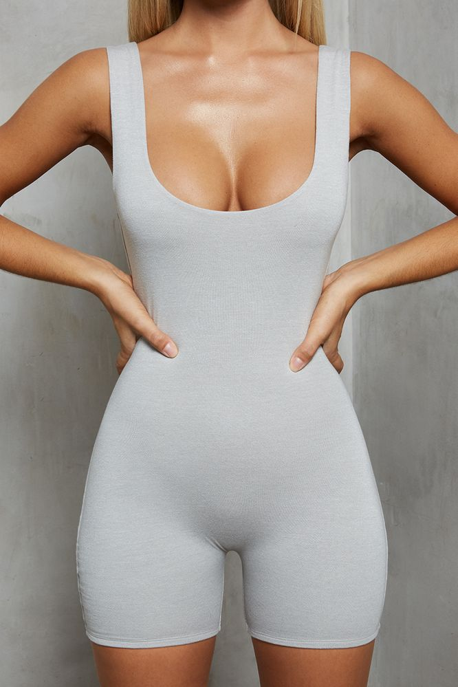Back Story Double Layered Playsuit Unitard in Light Grey