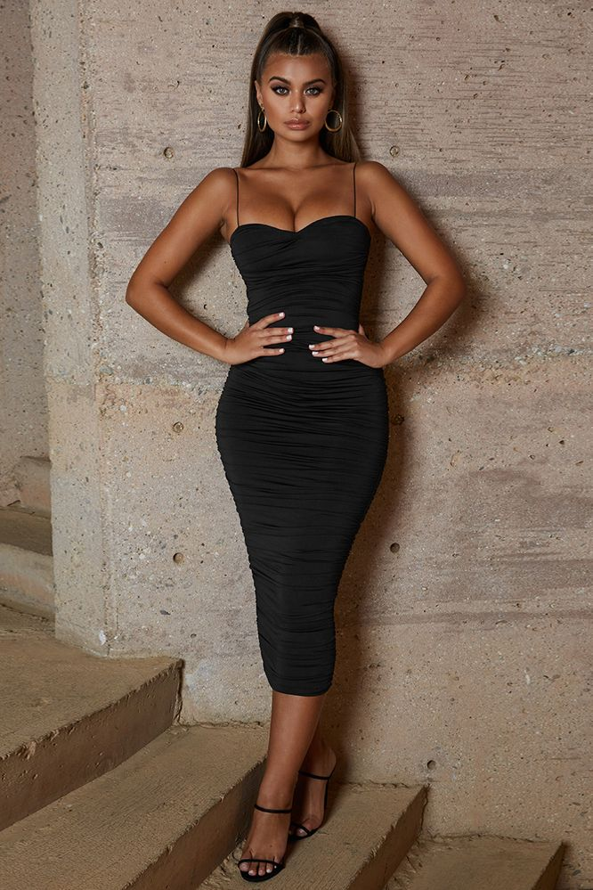 153f6e3431f Drop A Bombshell Ruched Midaxi Dress in Black