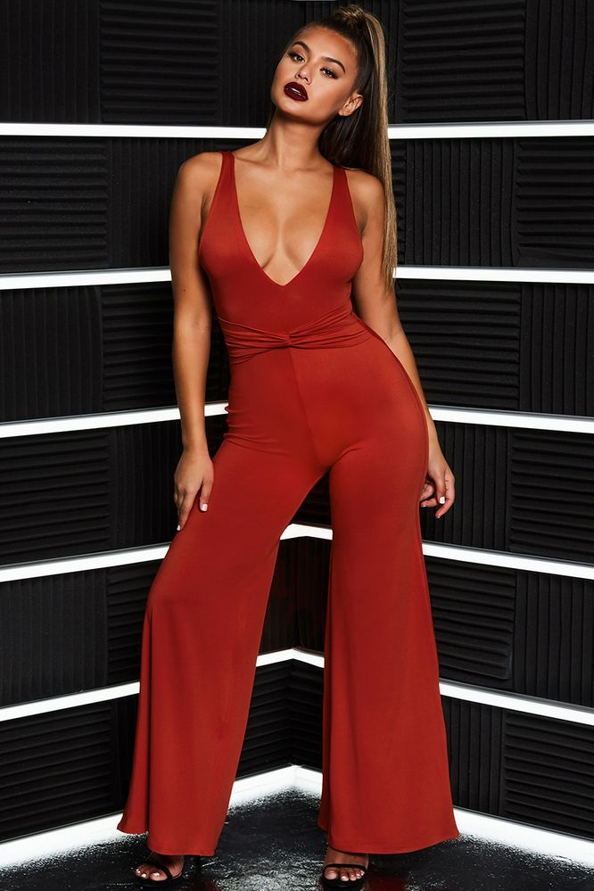 e5f03750a5e2b That Cuts Deep Twist Front Plunging Wide Leg Jumpsuit in Red