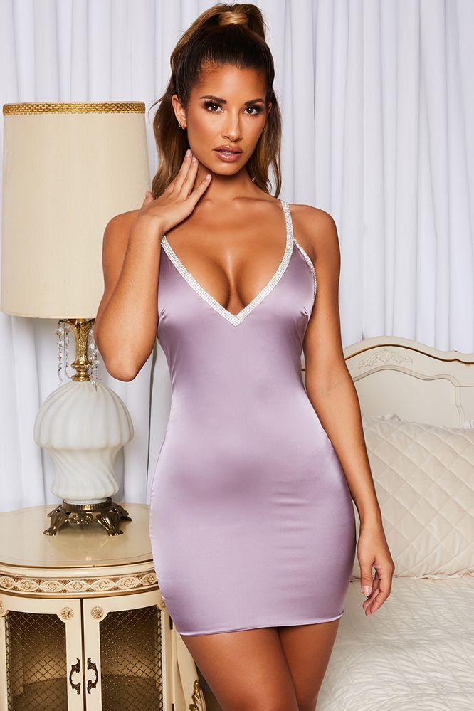 eaa6c83b Hot Damn Diamante Embellished Satin Mini Dress in Purple. Oh Polly