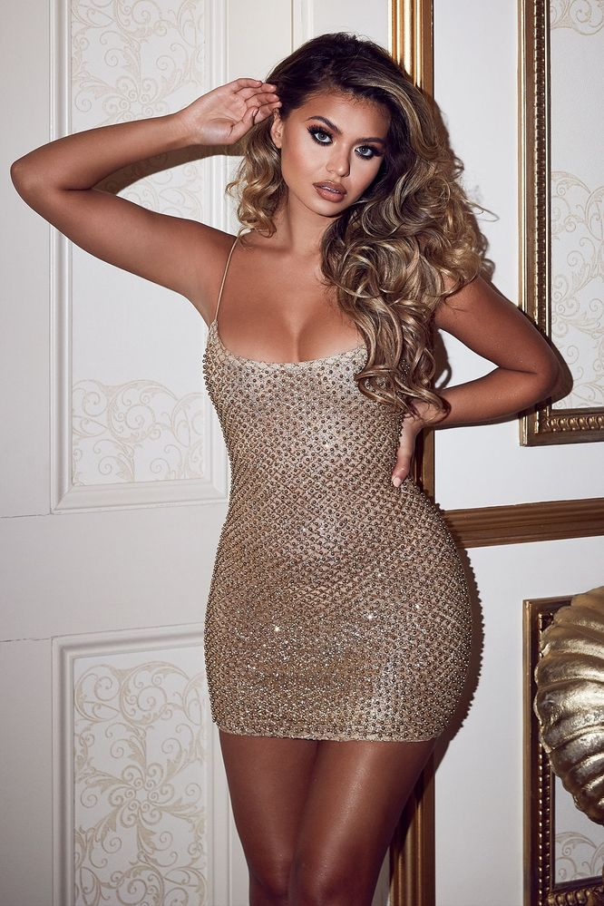 48c53ec8 (gold) Gold Mini Dress with Bead Detailing - Thumbnail. Oh Polly