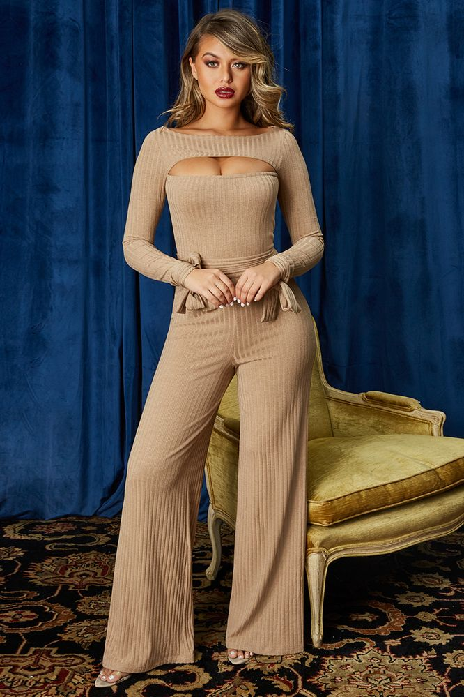 7c71be7253 It s A Knit Petite Ribbed Keyhole Wide Leg Jumpsuit in Beige