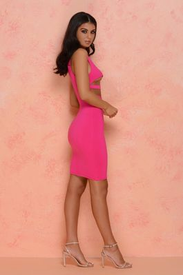 (hot-pink) Strappy Hour Underbust Midi - Side