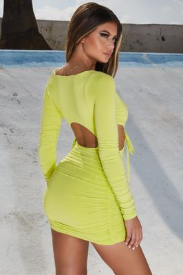 a890377c80 Glow With It Square Neck Ruched Bodycon Mini Dress